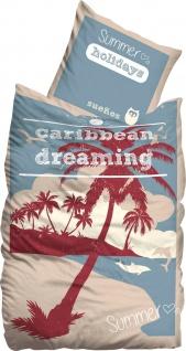 Suenos Bettwäsche Caribbean Dreaming mit Sommer Motiven 100 % Baumwolle