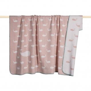 Pad Wohndecke, Kuscheldecke WHALE pink Maritim 100 x 150 cm weich kuschelig