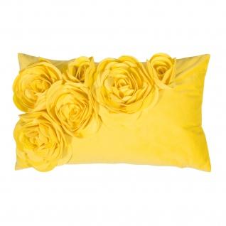 PAD Kissenhülle Floral 30 x 50 cm light yellow mit Blumen Applikation