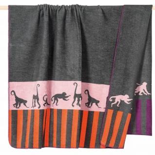 PAD Wohndecke Monkey grey 150 x 200 cm aus einem Baumwollmischgewebe Strickoptik