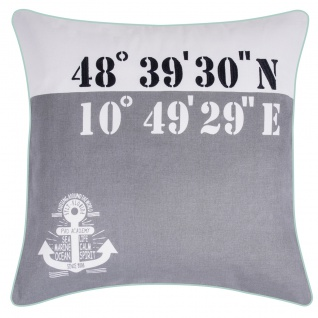PAD Kissenhülle ISLAND 50 x 50 cm grau maritim Koordinate 100% Baumwolle mit RV