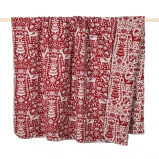 PAD Decke Wohndecke Scandi red Weihnachten 150 x 200 cm Baumwollmischung - Vorschau 1