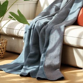 Biederlack Wohndecke Dune 734242 blue 150 x 200 cm Schurwollmischung Farbverlauf