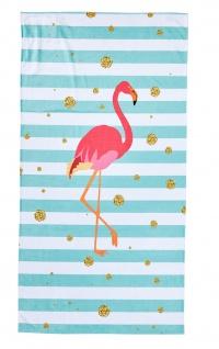 done.® Hamam / Strandtuch FLAMINGO pink-mint 90 x 180 cm, mit eingenähte Tasche mit RV