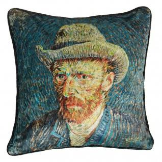 Beddinghouse Deko-Kissen van Gogh Museum 45 x 45 cm blau Wendeoptik Velour
