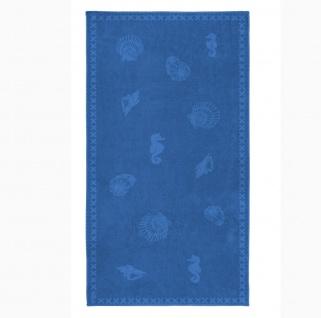 Seahorse Shells - Strandlaken brilliant blau 100 x 200 cm 100% Baumwolle extra groß - Vorschau 2