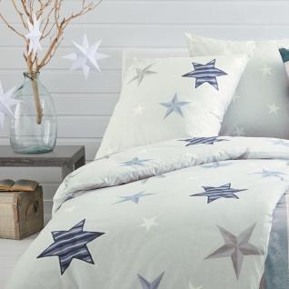 Irisette Fein- Biber Bettwäsche 8657-20 grau Sterne wärmend 100% Baumwolle - Vorschau 2