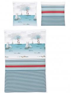 Irisette Bettwäsche Seersucker Calypso 8328-20 maritim 100% Baumwolle bügelfrei