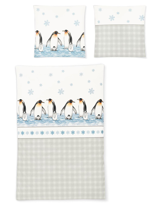 Irisette Biber Bettwäsche 8311 11 Pinguine Wärmend 100 Baumwolle