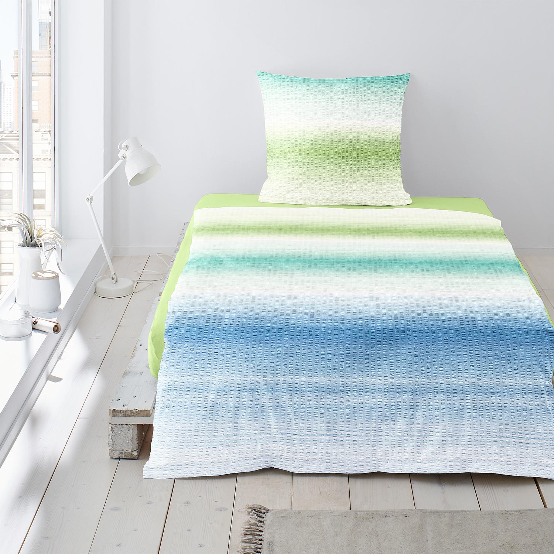 Irisette Bettwäsche Calypso 8753 30 Seersucker Grün Blockstreifen