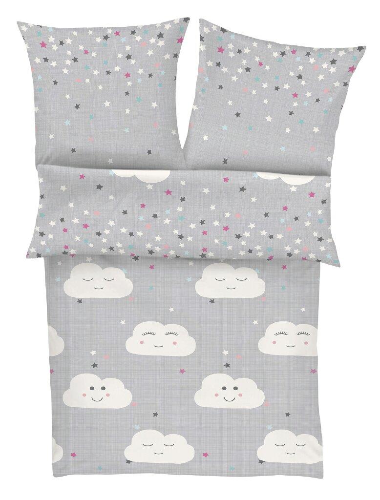 Soliver Kinderbettwäsche Wolken Und Sterne Renforcé 4026 Grau Weiß