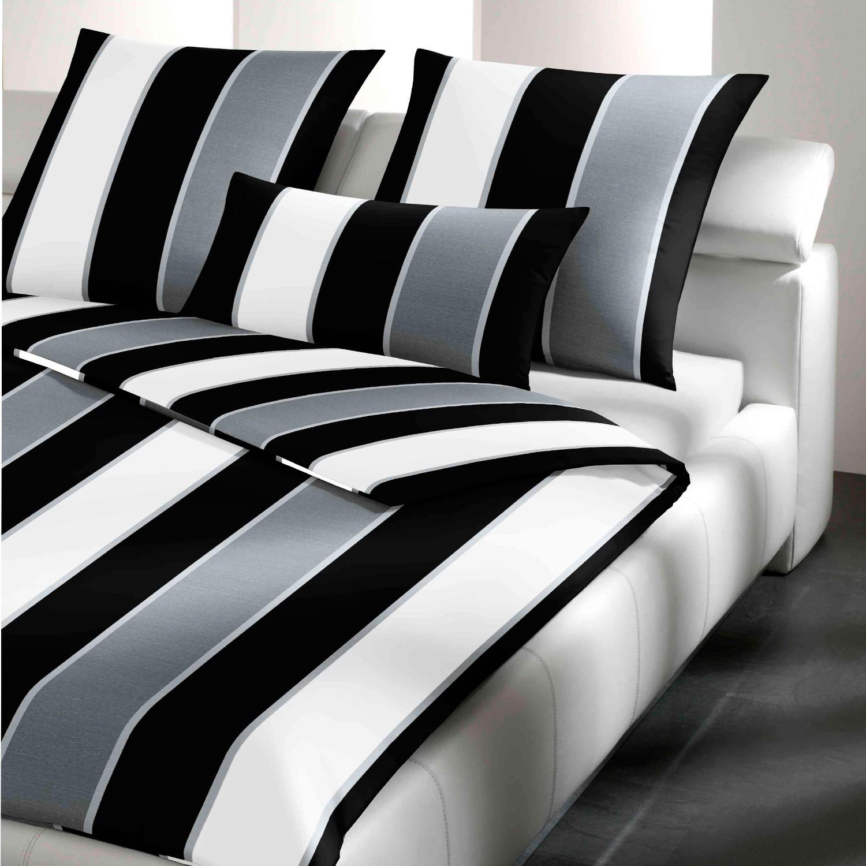 Joop Bettwäsche Lines 4055 0 Schwarz Weiß 100 Baumwolle