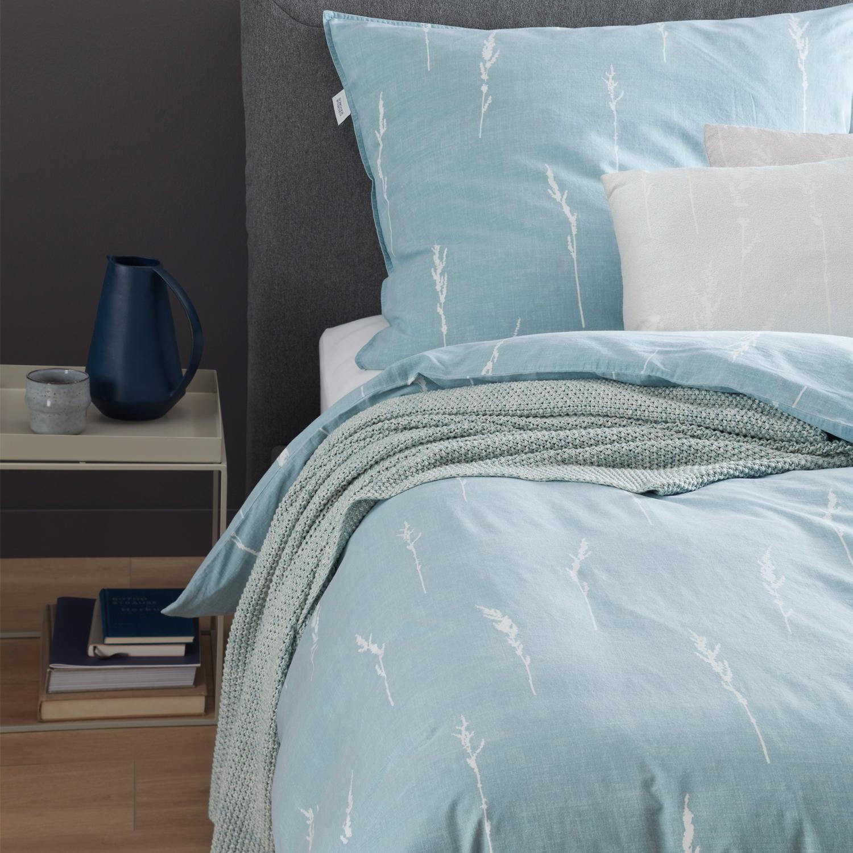 Schöner Wohnen Bettwäsche Gras Mint 100 Baumwolle Knitterlook