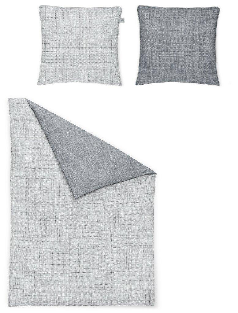 Irisette Mako Satin Bettwäsche Sol K Grafisch Grau 8054 20 Aus 100 Baumwolle