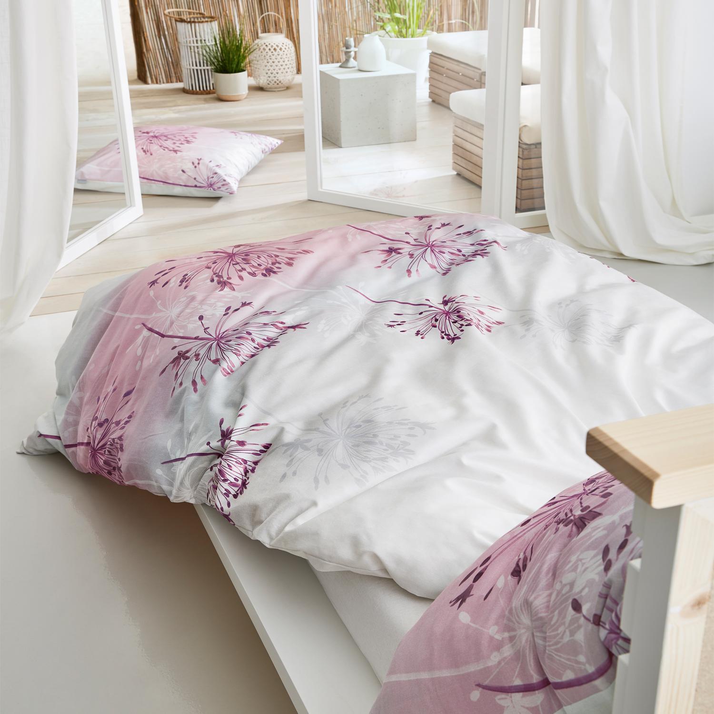 Ibena Mako Satin Bettwäsche Zeitgeist 5850 550 Rosa Grau 100 Baumwolle