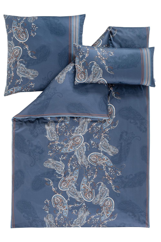 Estella Schweizer Premium Satin 3 Tlgbettwäsche Neyla 2122 625 Blau