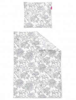 freundin Mako-Satin Bettwäsche Corado 8946-11grau florales Muster