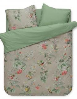PiP Bettwäsche Floris khaki Blumendesign 100% Baumwolle Landhaus romantisch