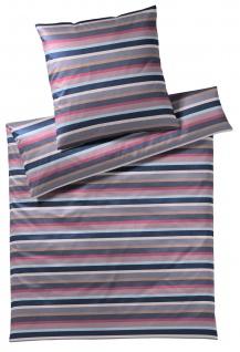 elegante Comfort-Satin Bettwäsche Color Stripe2322-1 rouge 100% Baumwolle