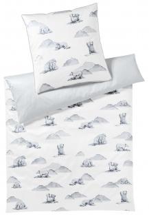 Elegante Mako-Satin Bettwäsche Eisbär 2275-0 Schneeweiß 100% Baumwolle exklusiv
