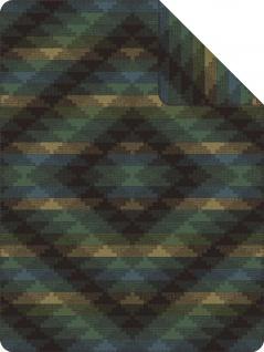 Ibena Wohndecke Jacquard Decke Dano dunkelgrün-petrol 150 x 200 cm Rautenmuster