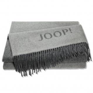 JOOP! Wolle-Kaschmir Plaid Fine Doubleface Graphit-Schiefer 130 x 180 cm Fransen