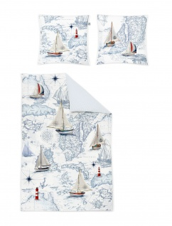 Irisette Mako-Satin Bettwäsche Opal-8814-90 blau maritim Digitaldruck Wendeoptik