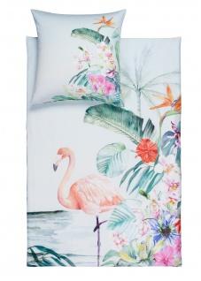 Estella Mako-Satin Bettwäsche Flamingo 4728-575 lagune aus 100% Baumwolle