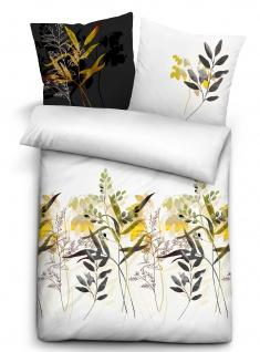 Biberna Baumwoll-Satin Bettwäsche 636160-001weiß 135 x 200 cm florales Muster
