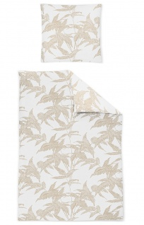 Irisette Mako-Satin Bettwäsche Eos 8009-40 natur Blätter-Muster 100% Baumwolle