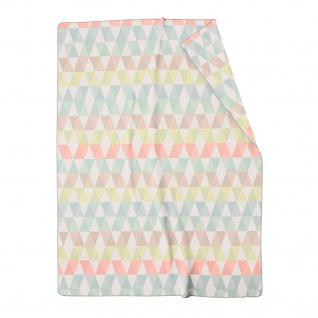 Biederlack Wohndecke Zigzag Baumwollmischung Pastell Farben modern 150 x 200 cm