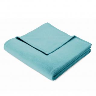 Biederlack Wohndecke Colour-Cotton Aquablau uni 150 x 200 cm weich, kuschelig Baumwollmischung