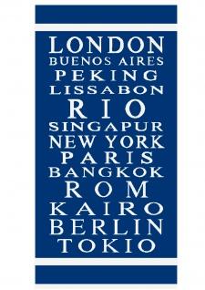 Ross Walk-Frottier Strandtuch Globetrotter 75 x 150 cm blau 100 % Baumwolle