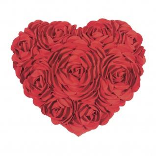 Pad Kissenhülle HEART 34 x 40 cm red Rosen-Applikationen Herzform