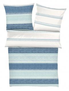 Ibena Mako-Satin Bettwäsche Zeitgeist 5847-620 Blockstreifen blau, türkis 100 % Baumwolle