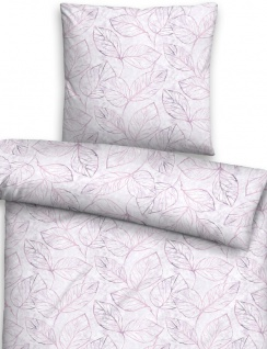 Biberna Edelflanell Bettwäsche 85123-324 Blätter flieder aus Baumwolle wärmend - Vorschau 2