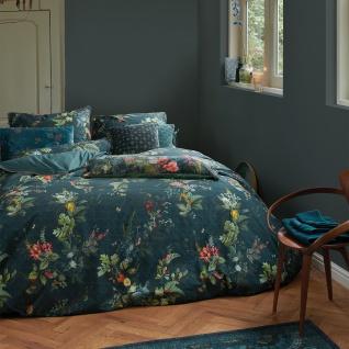 PiP Studio Perkal Bettwäsche Fall in Leaf Dark Blue aus 100% Baumwolle Blumenmotiv