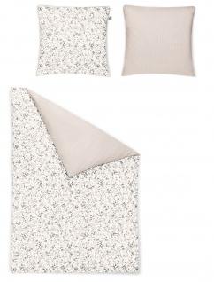 Irisette Bettwäsche Mako-Satin Soll-K 8588-11 grau-beige 100% Baumwolle Geblümt