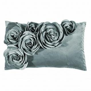 PAD Kissen Floral 30 x 50 cm sky Blumen-Aplikation plus Kissenfüllung