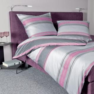 Janine Mako-Satin Bettwäsche Moments rosa-grau 98033-05 aus 100 % Baumwolle