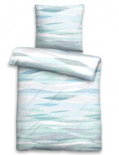 Biberna Bettwäsche Maco-Baumwolle-Satin 0636042-221 Wellen-Muster eisblau 100% Baumwolle