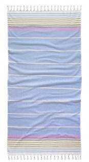 Tom Tailor Strandtuch HAMAM - STEIFEN Hellblau 90 x 180 cm gestreift mit Fransen