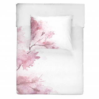 WALRA Bettwäsche Pink Blossom rosa 100 % Baumwolle florales Aquarell-Muster