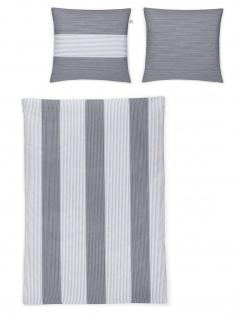 Irisette Edel-Flanell Bettwäsche Nubis 8647-11 grau gestreift 100% Baumwolle wärmend