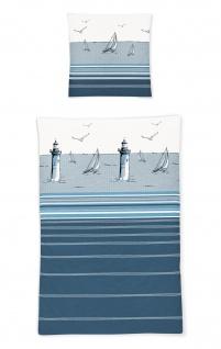 Irisette Seersucker Bettwäsche Calypso 8200-21 maritim 100% Baumwolle bügelfrei