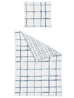 Irisette Bettwäsche Seersucker Calypso 8071-20 Karo blau 100% Baumwolle bügelfrei
