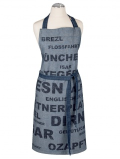 Pad Kochschürze München blue 100% Baumwolle bedruckt mit Schriften modern