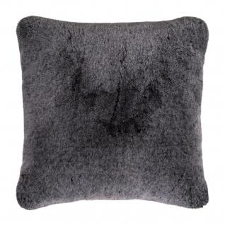 Pad Kissen Kunst-Fell CHAMPAGNE 48x 48cm grey Fellimitat modern weich mit RV
