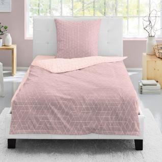 Irisette Edelflanell Bettwäsche 8122-60 rosa 100% Baumwolle geometrisch wärmend