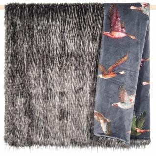 PAD hochwertige Wohndecke Duck grey 140 x 190 cm Kunstfell und Samt